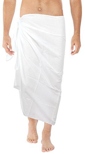 La Leela weicher Viskose einfache feste Strand entspannte Badebekleidung Pareo Herren-Sarong weiß (Baumwolle Feste Schlaf-hose)