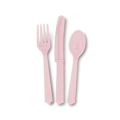 Assorted Plastic Cutlery 24/Pk - Baby Pink