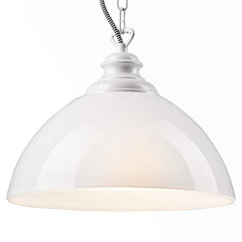 Pendel-Leuchte Decken-Leuchte aus Glas E27 Hänge-Leuchte (Farbe: Weiss) Vintage Industrieleuchte Wohnzimmerlampe Modern Wohnzimmer mit Kette Vintagelampe für Wohnzimmer/Küche/Büro/Praxis (Mit Kette Hängelampe)