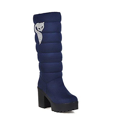 Puxe Allhqfashion Senhoras High-apontou Puramente Para Cerca De Botas Toe De Salto Alto Azul