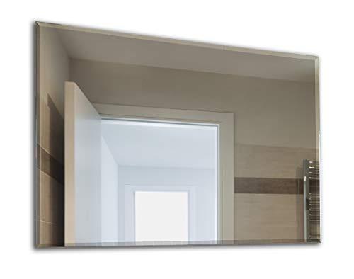 Facettenspiegel, Spiegel mit Facettenschliff, Rahmenloser, Spiegelfliese, Wandspiegel, Badspiegel, Badezimmer, Größe: Breite 50 cm x Höhe 40 cm
