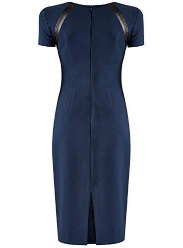 oodji Collection Damen Jersey-Kleid mit Lederimitat-Details Blau (7929B)