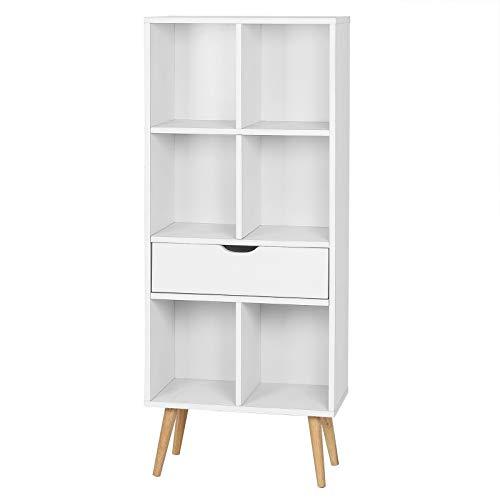 EUGAD 0010SHG Bücherregal Bücherschrank Raumteiler Aktenregal Aufbewahrungregal Standregal mit Schublade, mit Fußbeine, 6 Fächer, 50x29,5x120cm, Weiß