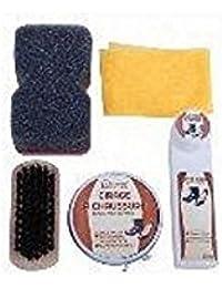 Kit cirage chaussures NOIR 5 pièces - Cirage NOIR liquide et crème set de 5 pièces - set nettoyage chaussures noir 5 pièces