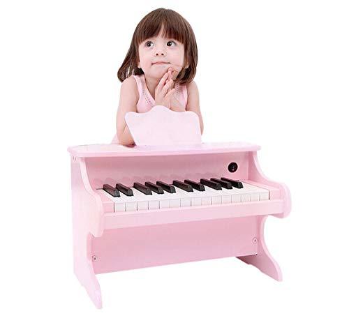 yyyff Piano électronique pour Enfants en Bois Petit Piano Jouet pour débutant 1-3-6 Ans Cadeau garçon Fille Princesse Rose