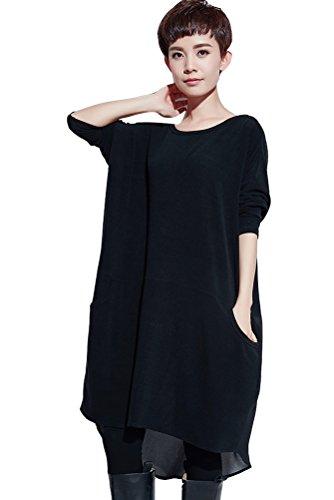 Schwarze Lange Gewand Tasche (Vogstyle Damen Langarm Rundhals Chiffon Kleid Schwarz)