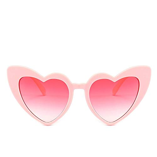 Herz Sonnenbrille Frauen Markendesigner Cat Eye Sonnenbrille Retro Love Heart Shaped Glasses Damen Shopping Sunglass UV400 (Lenses Color : Pink)