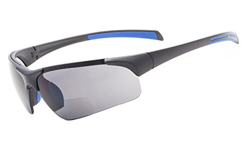 Eyekepper TR90 Unbreakable Sport Halbrandlose Bifokale Sonnenbrille Baseball Laufen Angeln Fahren Golf Softball Wandern Matt Schwarz-Blau Rahmen Grau Linse +2.0