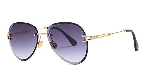 LAMAMAG Sonnenbrille Randlose Sonnenbrille Frauen Orange Braun Farbverlauf Frameless Sonnenbrille Für Frauen Uv400 Oculos, E