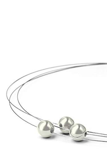 Heideman Halskette Damen Florere III aus Edelstahl Silber farbend matt Kette für Frauen mit Swarovski Perlen grau 10mm und Längen 46cm Perlenschmuck Brautschmuck