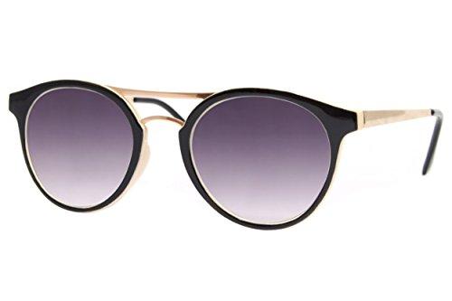 Cheapass Sonnenbrille Rund Schwarz Violett UV400 Runde Brille Damen Herren