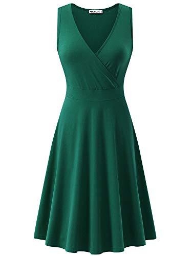 Baumwolle V-neck Wrap (MSBASIC Womens Deep V Neck ärmelloses Cross Wrap lässige Flare Midi Tank Kleid mit Taschen 8031-2,Large)