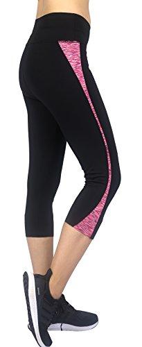 Sugar Pocket Capri Leggings Pants Femme Pantalon Court pour Ftiness Yoga et Pilates Noir/Rose