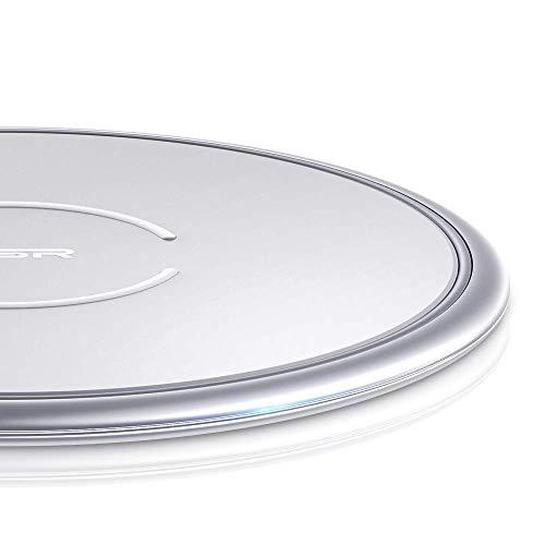ESR Caricabatterie Wireless [10W/7.5W Telaio Metallico] Ricarica Rapida per iPhone XS/XS Max/XR/X/iPhone 8/8+, Galaxy S10/S10+/Note 9/S9/S9+, Ricarica Standard per AirPods, Huawei P30 PRO, Argento