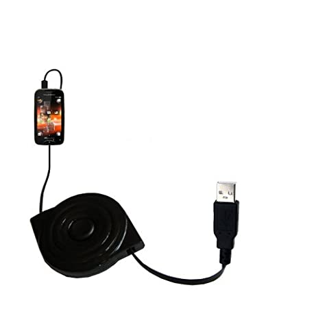 compact and retractable USB Power Port Ready charge cable designed for the Sony Ericsson Mix Walkman and uses