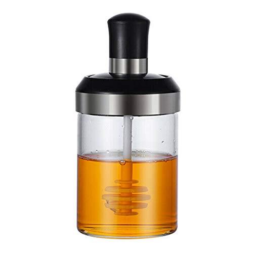 Bottiglia di condimento-TianranRT❄ Flacone di vetro da 250 ml con contenitore per olio e miele Bottiglia di condimento in acciaio inox Forniture da cucina,B