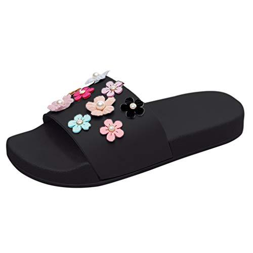 Sommer Hausschuhe Damen Mode Sandalen Blume High Heels Frauen Sommersandalen Strandschuhe Freizeitschuhe Peeptoe Sandaletten ABsoar
