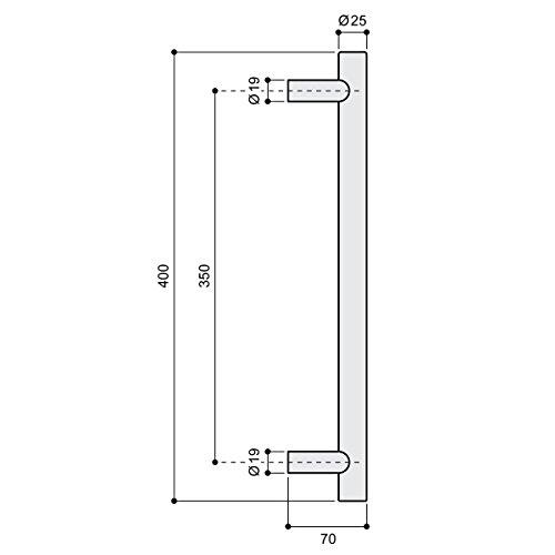 31B9TBmMoGL - Manija de Puerta Tirador de 350 mm de Acero Inoxidable Satinado Manija Puerta de Cristal