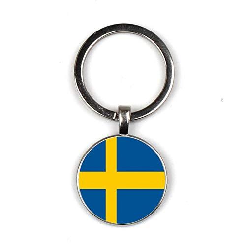 DCFVGB Schlüsselbund Persönlichkeit Schlüsselanhänger Schmuck Portugal Schweden Flagge Schlüsselbund Glas Cabochon Anhänger Schlüsselanhänger