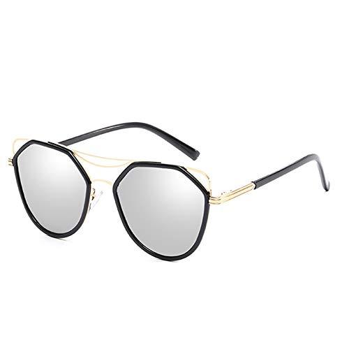 Epinki Damen Polarisiert Sonnenbrille Katzenauge Retro Brille UV400 Schutz | Vollrand | für Alltag, Party, Fahren - Silber