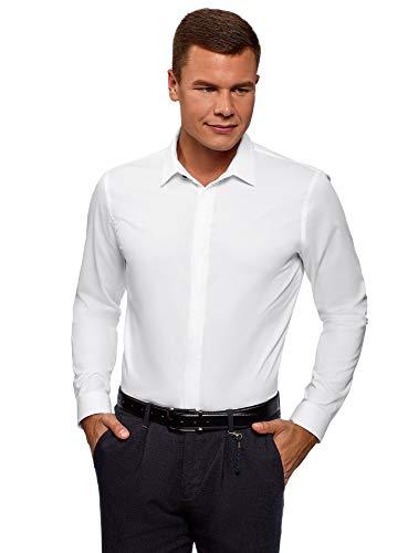 oodji Ultra Herren Tailliertes Hemd mit Verdeckter Knopfleiste, Weiß, Herstellergröße 39 (Kragenweite 39 cm)/ DE 39 / S