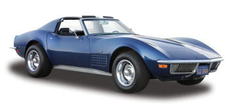 Maisto Chevrolet Corvette '70: Originalgetreues Modellauto 1:24, Türen und Motorhaube zum Öffnen, Fertigmodell, 20 cm, blau (531202) -