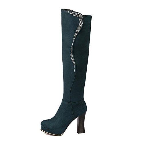 AgooLar Damen Hoch-Spitze Eingelegt Reißverschluss Stiefel mit Beschlagene Strass Dunkelgrün