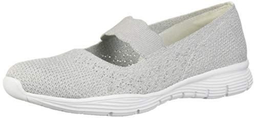 Skechers Damen Seager - Power Hitter Mary Jane Halbschuhe, Grau (Light Grey Ltgrey), 39 EU (Woven Mary Jane Schuhe)
