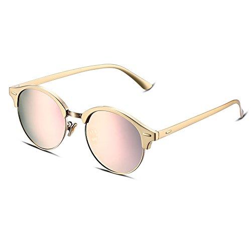 NYKKOLA mujeres polarizadas gafas de espejo marco de metal lente gafas de sol Cat Eye Colorful, rose frame and gold lens
