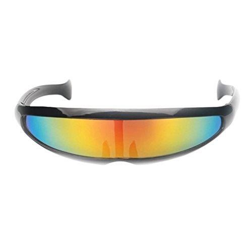 Homyl Futuristische Erwachsenen Sonnenbrille - Schwarz Gelb