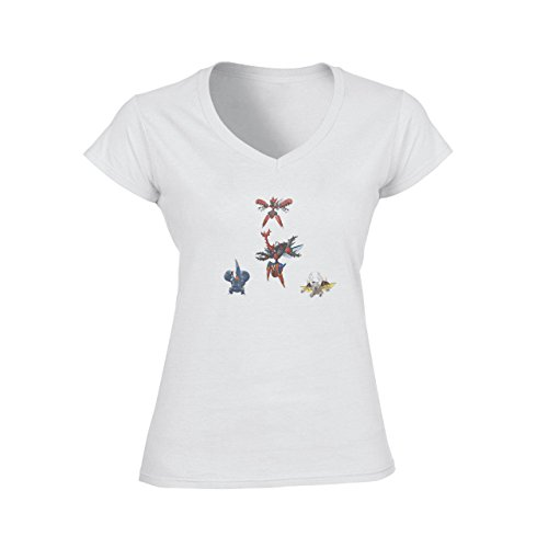 Digimon Tentomon Bug Kabuterimon Pokemon Damen V-Neck T-Shirt Weiß