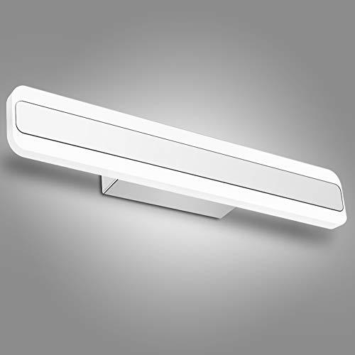 Lampe LED Salle de Bain, Applique Murale IP44, Lumière Blanc Froid 6000K, 16w Lampe Miroir Maquillage Luminaire Acier Inoxydable
