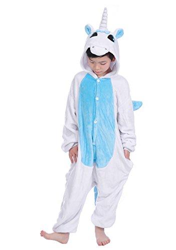 Tuopuda Kinder Kigurumi Pyjamas Tier Schlafanzug Jumpsuit Nachtwäsche Unisex Cosplay Kostüm für Mädchen und Jungen Halloween Karneval Fasching (XXL = 130 - 140 cm height, Weißes (Kostüme Kind Einhorn)