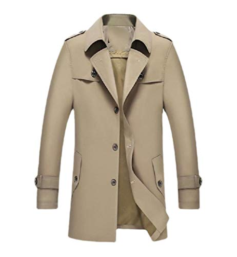 CuteRose Men's Lapel Single Breasted Mid-Long Business Trench Coat Outwear Khaki S Breasted Belted Wool Coat