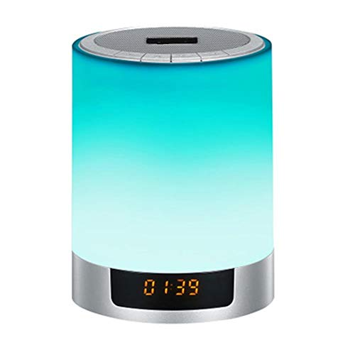 V.JUST Berührungssensor, Der LED-Wecker Mit Drahtlosem Bluetooth Lautsprecher, LED-Nachttisch-Lampe + Dimmable Warmem Licht U. Farbändern Einzieht (Drahtlose Licht-buchse)