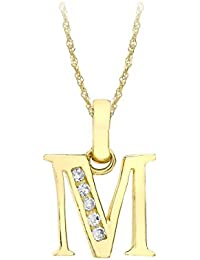 Carissima Gold Damen-Kette mit Anhänger 9ct Cubic Zirconia 'M' Initial Pendant on Chain 375 Gelbgold Zirkonia weiß Rundschliff 46 cm - 1.44.6114