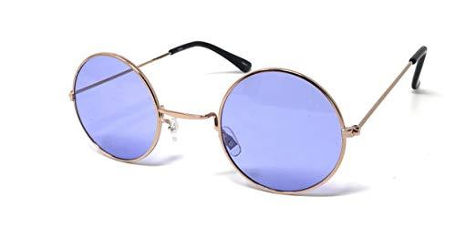 UltraByEasyPeasyStore Gold Frame Mit Lila Linsen Kleine Stil Erwachsene Retro Runde Sonnenbrille John Lennon Vintage Look Qualität UV400 Elton Brille Herren Damen Klassische Unisex Brillen