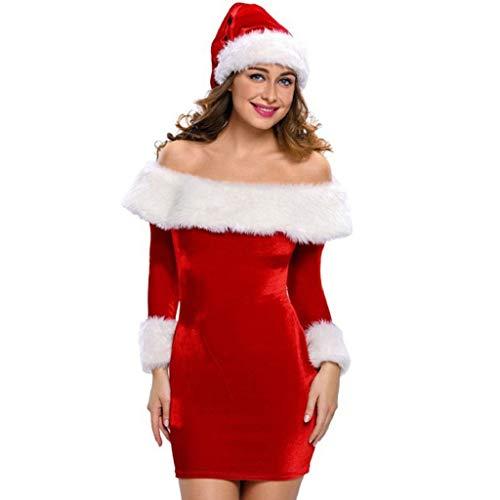 Luckycat WeihnachtsDamen Schulterfrei Langarm Minikleider Santa Claus Bodycon Dresse Abendkleider Cocktailkleid Partykleider Blusenkleid Mode ()