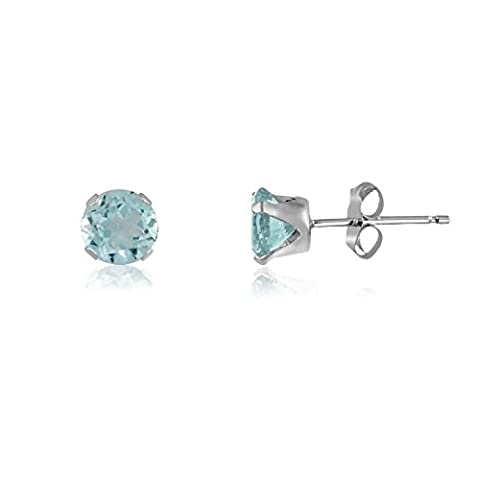3MM Classic Brilliant Round Cut CZ Sterling Silver Stud Earrings - AQUAMARINE BLUE - Or Choose From 2mm to 12mm. 3-AQUA