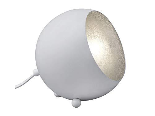 Kleine LED Tischleuchte im Retro Style aus Metall Höhe 16cm mit rundem Lampenschirm in Weiß matt, und innen Silberfarbig (Tischleuchte Weiß Kleine)