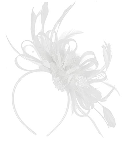 fascinator wei  Caprilite Fashion Faszinator, Haarreif mit Netz / Feder für Hochzeit / Pferderennen, Weiß