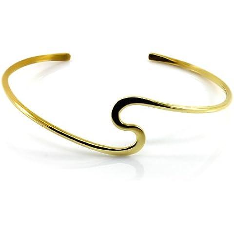 Mgd, 20mm de ancho Forma de S Arm Cuff Pulsera ajustable–Tensiómetro de brazo, tono dorado latón, una talla para todos, joyería de moda para las mujeres,
