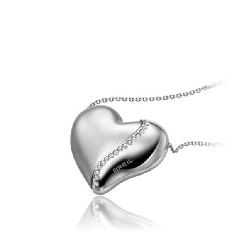 Collana Lunga BREIL HEARTBREAKER TJ1551 Cuore Swarovski Acciaio Satinato