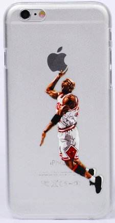 Art Design Hülle für iPhone 7 / iPhone 8 Michael Jordan 23 Dunk Chicago Bulls Blanc et Rouge Basketball NBA Soft Silikon