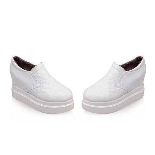 AgooLar Femme Pu Cuir à Talon Haut Rond Couleur Unie Tire Chaussures Légeres Blanc