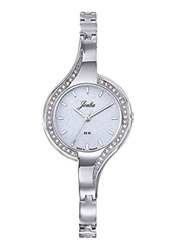 Joalia H633M056 - Orologio da donna con cinturino in acciaio, lunetta incastonata, quadrante glitterato