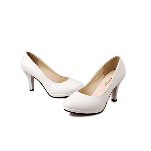 Transer® Damen Geschäft High Heel Mokassins Bürodame Kunstleder+Kunststoff Schwarz Weiß Rot Einzelschuhe Weiß 5PoRc5