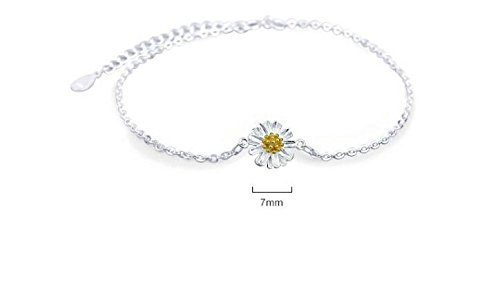 925 Sterling Silver Anklet Flowers Charm Bead Daisy Foot Chain Bracelet,Adjustable Length