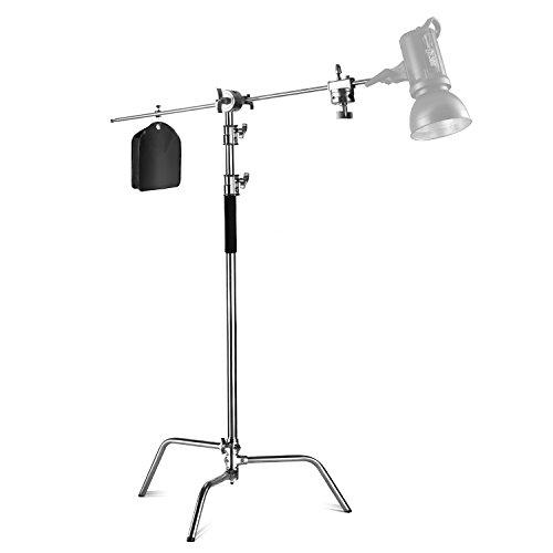 Neewer Pro Metall verstellbar Reflektor Ständer Max Höhe 10Füße/305Zentimeter mit Sandsack 4Füße/120Zentimeter Trägerarm und 2Stück Grip Head für die Fotografie Studio Video Reflektor, Monolight (Monolights Pro)