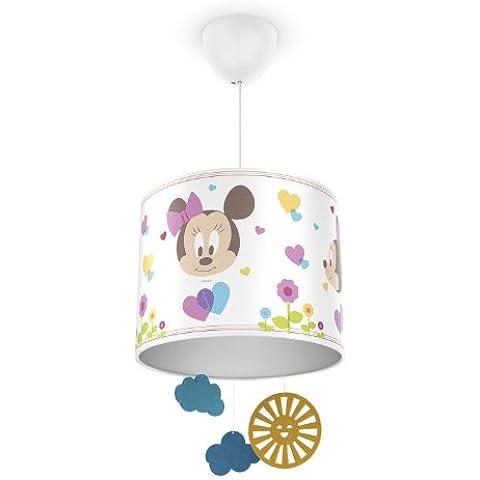 Philips Disney Baby Minnie Mouse - Lámpara colgante, iluminación interior, luz blanca cálida, plástico, color blanco